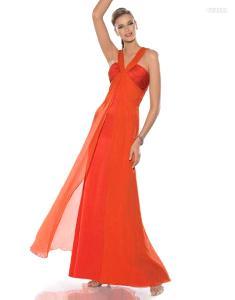 Pronovias Cóctel 2010 - Jordania, vestido largo anaranjado, de talle alto, escote halter en V drapeado