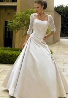 Bonmarier - Vestido largo de corte princesa, fruncido lateral, escote cuadrado, manga 3 4