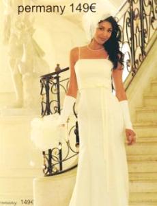 Tati Mariage 2009 - Permany, robe longue en mousseline, de ceinture haute, à décolleté droit
